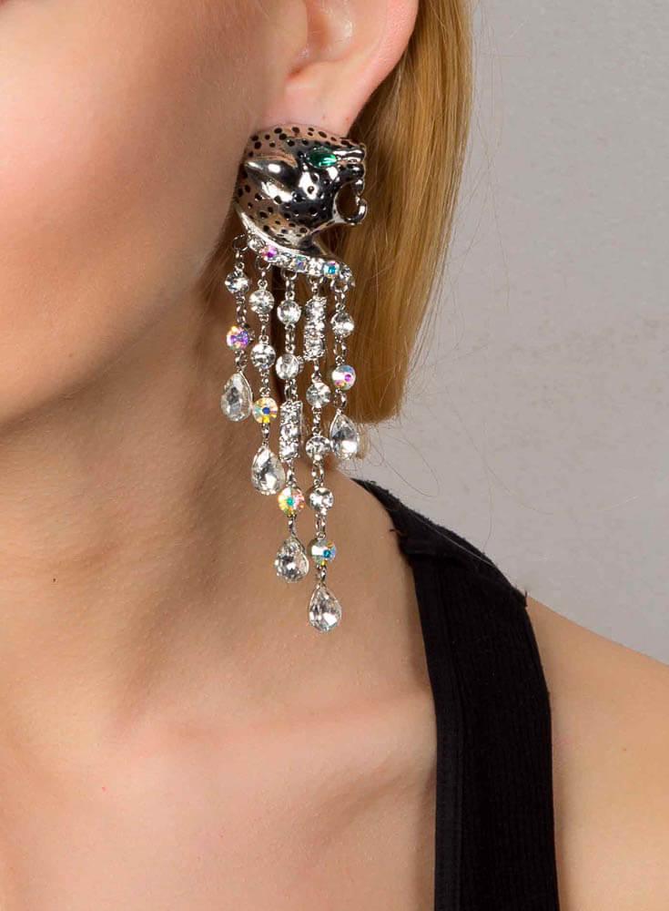Crystal Leopard Earrings - Rhodium